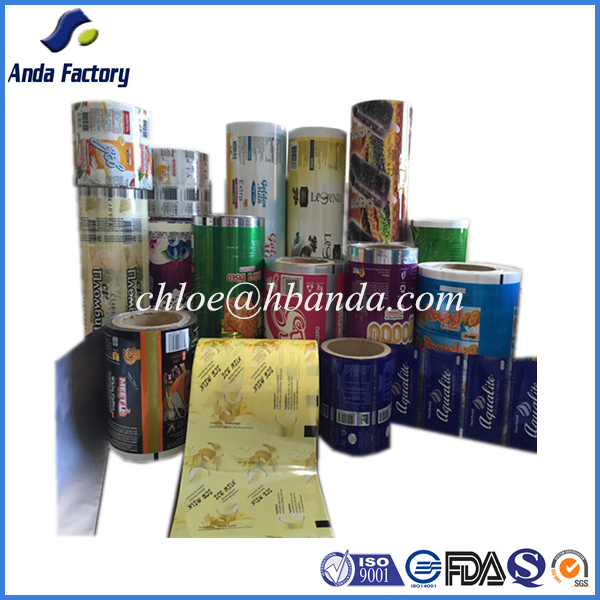 gravure printing laminated food grade plastic packaging film roll /aluminium foli wrapper