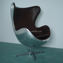 Modern Living Room Vintage Genuine Leather Arne jacobsen Egg Chair Replica Aluminum 1950s Copenhagen Oil Waxing Egg Chair