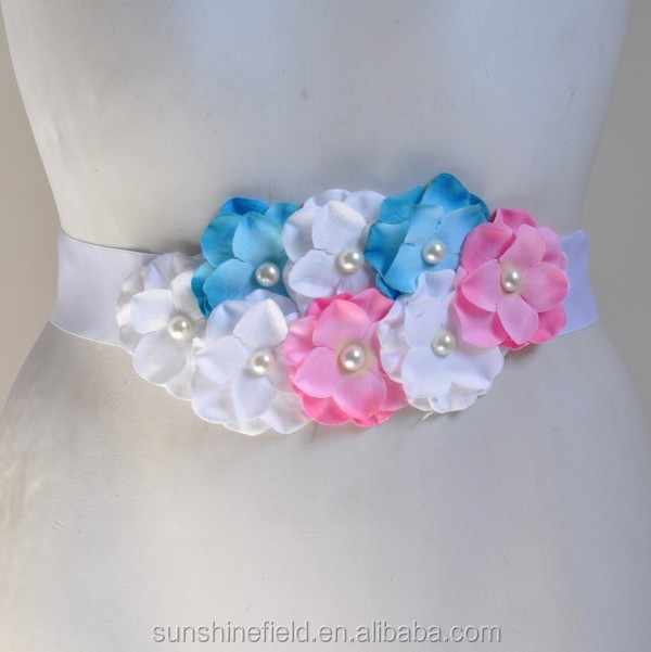 Double-color Cluster Hydrangea flowers Pearl center Sash Belt For Kids