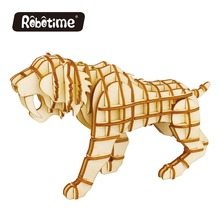 Robotime wooden craft puzzle wolf wooden 3d puzzle construction kit for kids toys and adult toys