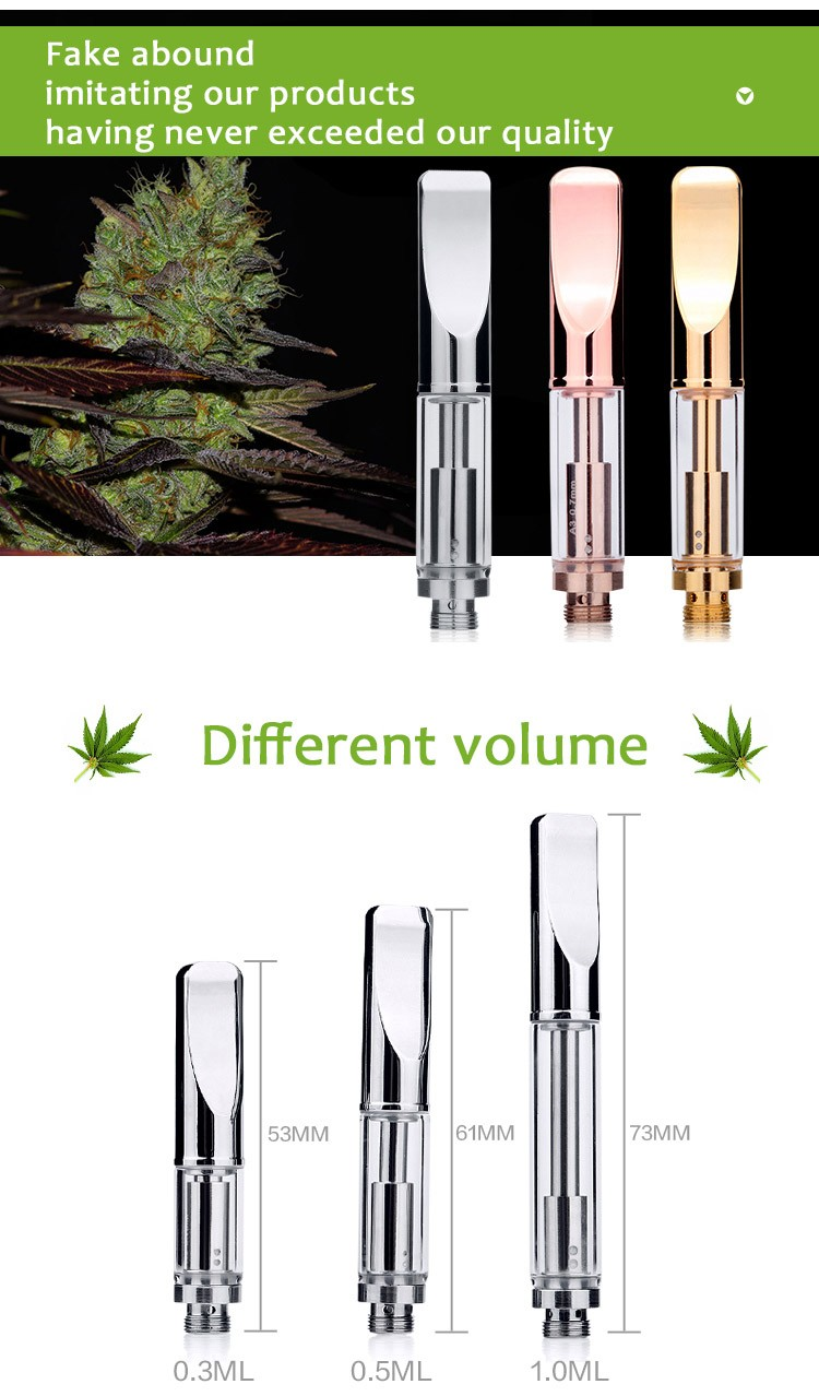 Gold color cbd oil pen 510 glass cartridge .5ml metal tip vape thick oil