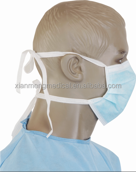 OEM medical disposable 3 ply non woven surgical face mask with tie