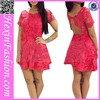 Fashion short sleeves rose red casual summer dress 2014