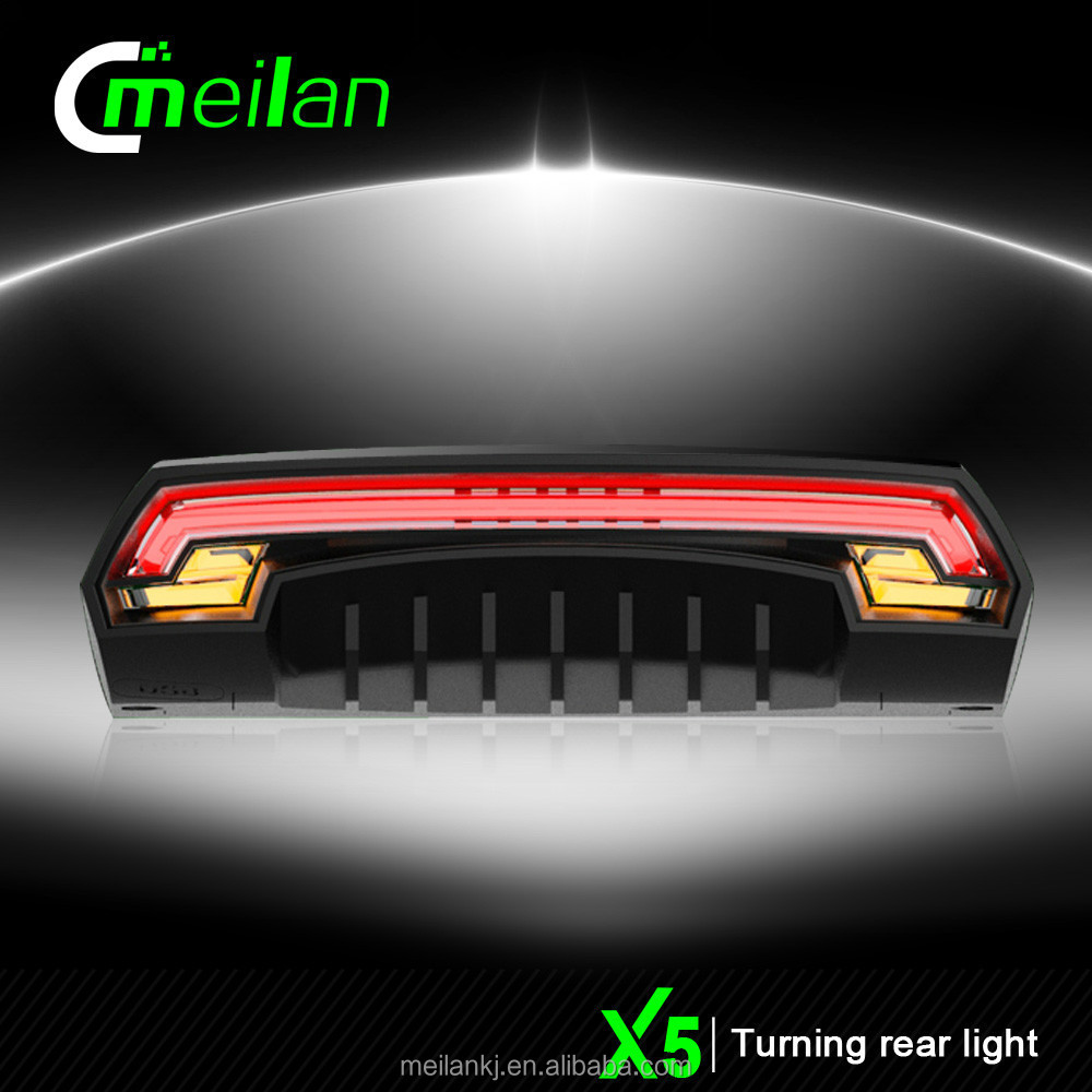 bicycle laser light Wireless turn signal Meilan X5 remote control usb led Rear light Flashing Wholesale cycling accessory
