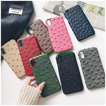 Fashion ostrich pattern genuine real skin leather hard pc phone case for iPhone X