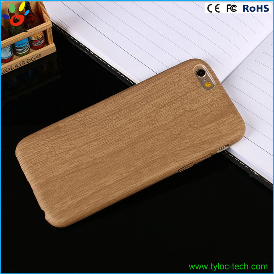 Customized Logo Design For iPhone 6/6s Wood Grain Leather Phone Case