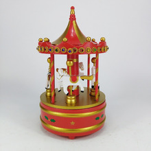 Hand-painted Wooden Carousel Music Box Merry-Go-Round Horse Music Box Christmas music Gifts