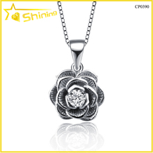 top quality wholesale latest design matt finish solid silver flower pendant