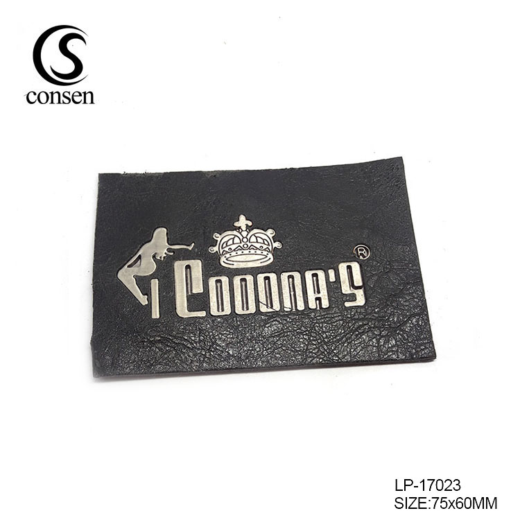Pu handmade custom metal logo leather clothing label for garment