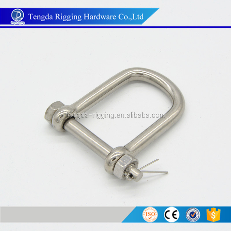 Stainless Steel Wide D Shackle With Bolt&Nut Pin