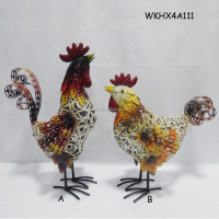 Handmade iron chicken wholesale garden decor
