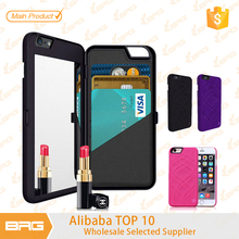 Multifunction Make up Mirror + Plastic Wallet Case Cover For iPhone 6,Cell phone Mirror Plastic Cases Cover