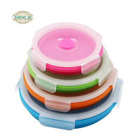 Collapsible silicone leakproof food storage container for adult or kids