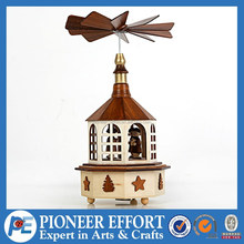 Christmas wood music box with windmill, music box home decoration