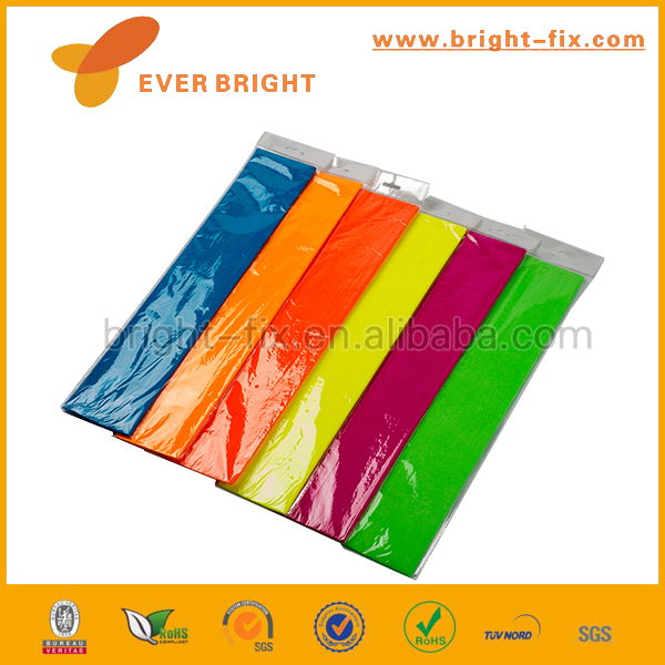 Colour crepe paper for packing,wrapping paper,decorative fluorescent craft streamer printed colorful crepe paper