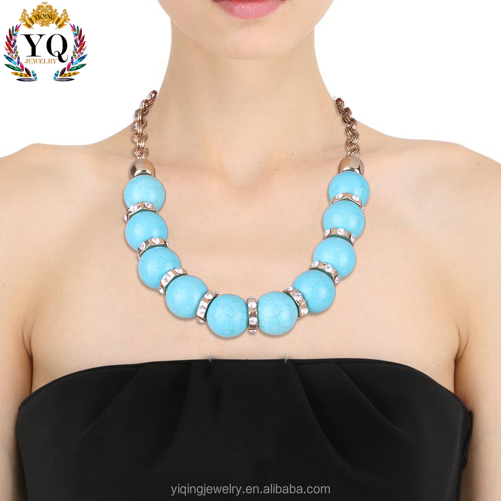 NYQ-00842 2017 latest design charm bohemian crystal natural big turquoise beads necklace