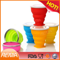 collapsible tea drinking folded cup with cover and kids folding silicone cup with lid