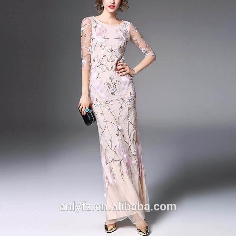 Manufacturer clothing wholesale ladies v neck sleeveless embroidered design wrap dress