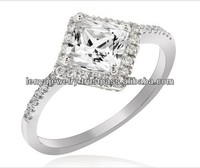 Rhodium Plated Silver Princess Cut Diamond Fire Engagement Ring
