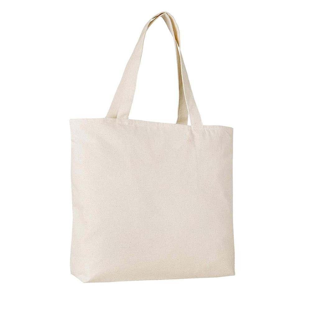 PACK OF <strong>2</strong> Heavy Canvas Reusable Plain Large Tote Bags with Zipper Top and Zipper Inside Pocket, Art and Craft Beach Travel Tote