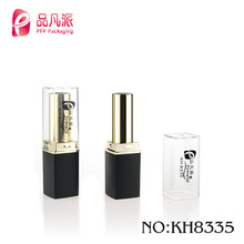 Custom luxury cosmetic casing empty square frosted tube red lipstick with transparent lid