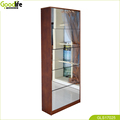 Full length solid wood shoe wardobe  with dressing mirror and the inside cabinet with two layer storage shelf