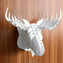 Wooden mounted animal heads for home decor