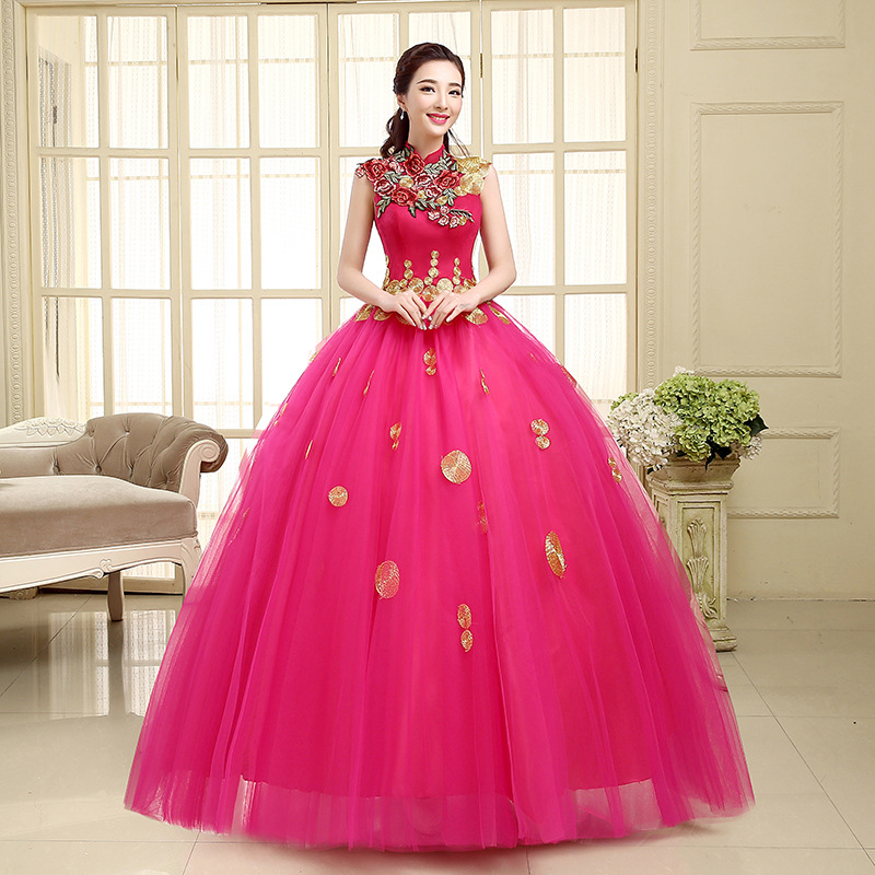 Chine style vintage broderie rose rouge robes de mariée 2015 / robe ...