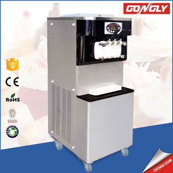 Factory price three nozzle gelato maker soft server ice cream machine for cinema/theater