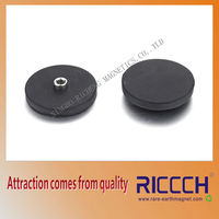strong rubber coated round door holding magnet