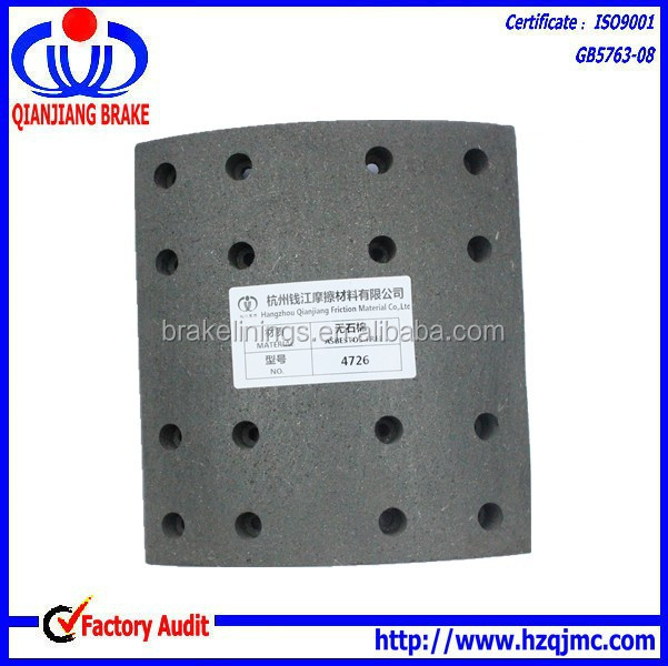 heavy duty truck parts of brake lining 4726 for auto truck brake shoe