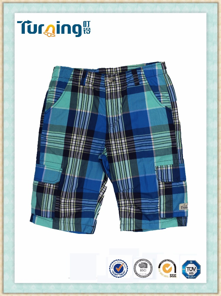 High Fashion Cotton Checks Boys Short Pants, Boys Casual Cotton Cargo Capri Pants