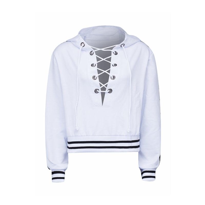 Girls White Plunge Laced Up Front Stripe Trims Hoodie Manufacturer