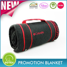 Famous Brand in cooperation high quality pocket promotion polar fleece blanket with embroidery
