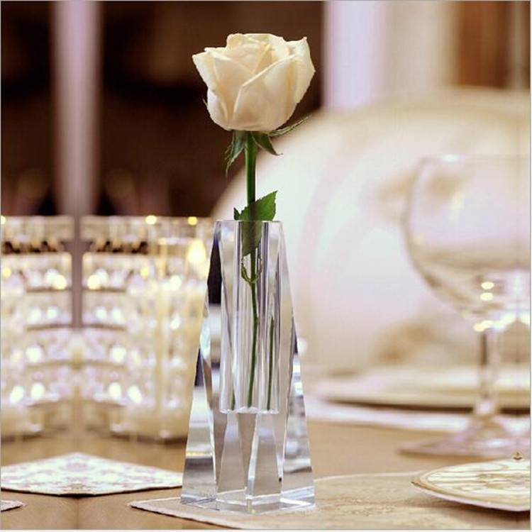 Wholesale new design crystal flower glass tall vase for home decoration