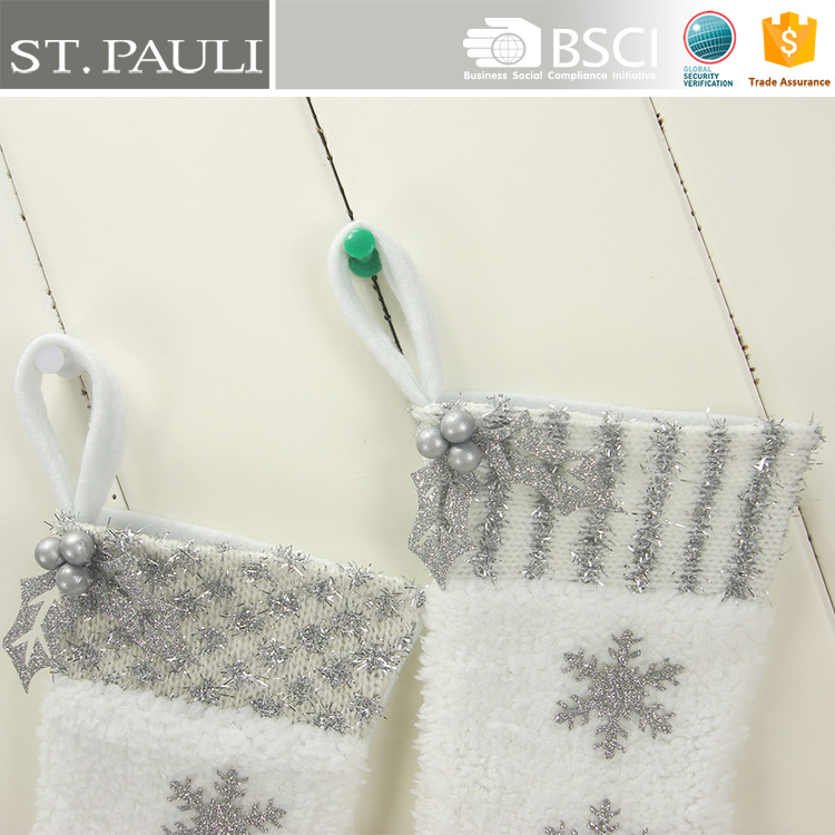 3pcs snowflakes pattern set of 2 hanging 9inch white mini christmas stocking high quality fleece christmas stockings with holly