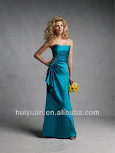 Satin Strapless Curved Neckline Western Wedding Bridesmaid Dresses
