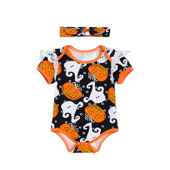Baby Girl Halloween Costumes Ghost Pumpkin Flutter Sleeve Bodysuit Romper Clothing Sets With Hairband