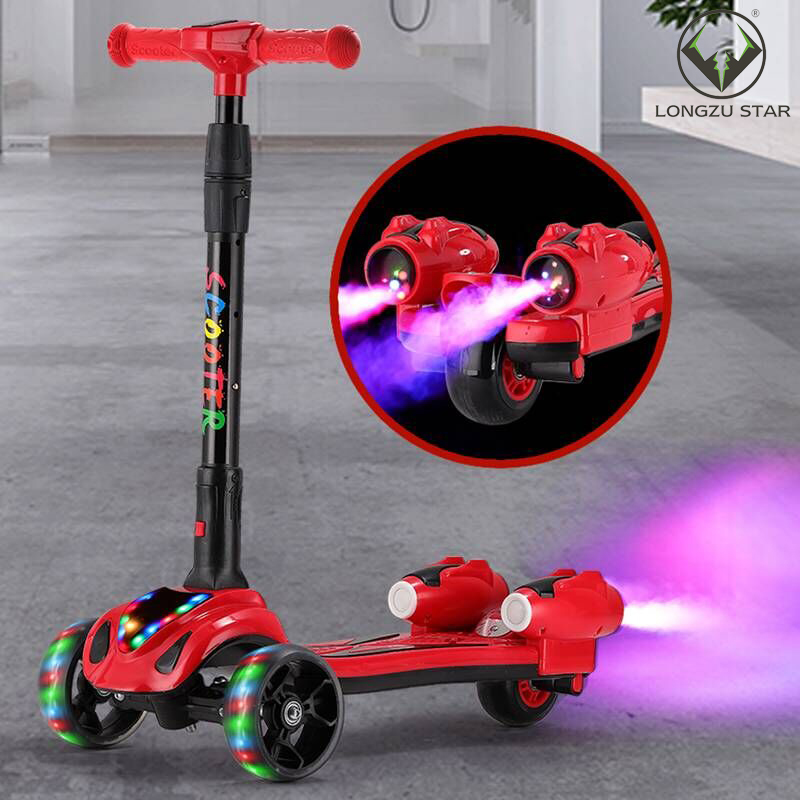 3 wheel folding adjustable electric kids kick scooter spray scooters with led lights