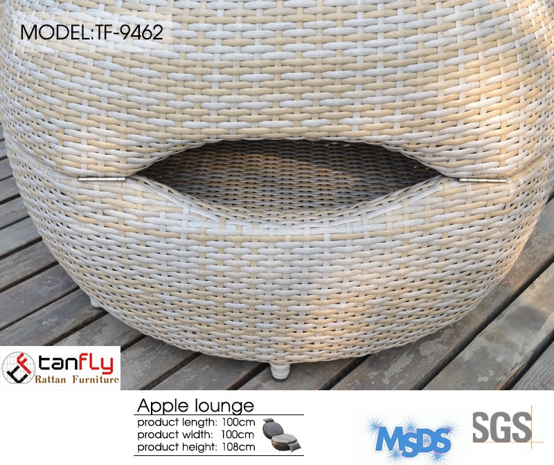 high quality round shape outdoor furniture rattan lounge chair