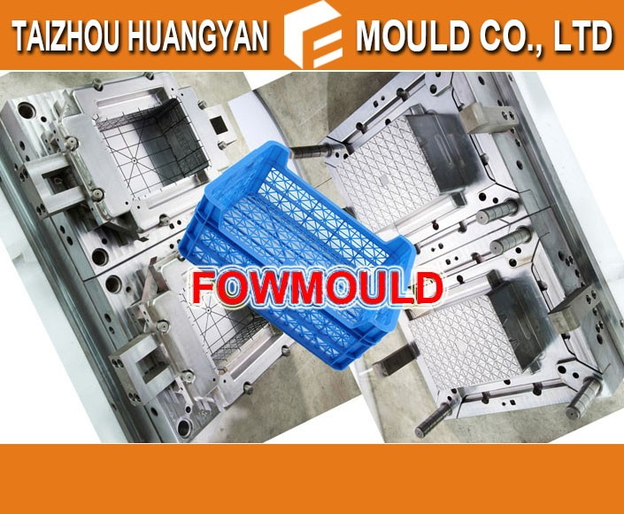Hot runner plastic injection turnover fruit crate mould