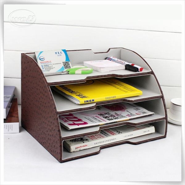 adjustable office pu leather letter tray