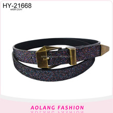 Latest design ladies gemstone color fashion PU belt