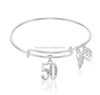 New model Number 50 Fifty 50th Birthday 925 sterling silver Expandable Wire Bangle Bracelet