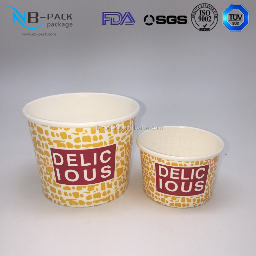 Strong Stiffness Grade Printing Disposible Paper Ice Cream Cups With Cartoon Logo For Christmas
