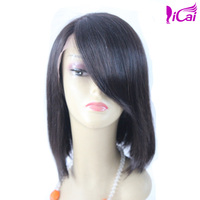 glueless silk top full lace bob style wig ,european hair swiss lace short bob wig