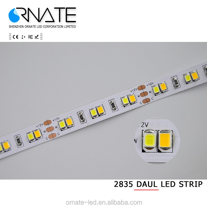 Ultra bright smd 5630 warm white 3000K to cold white 6000k 24v 24w 120elds/m dual color led strip light
