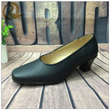 2015 woman dress police officer shoes black leather military