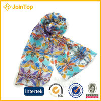 Fashion printing flower design long cheap neck scarf
