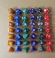 Hot Creative Dual Color Mixed Series 7 Pcs Set Multi-Faceted Acrylic Dice